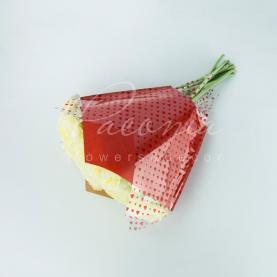 Пакет Флористичний для букета 38см*35см*13см крафт червоний з п/э з червоними серцями