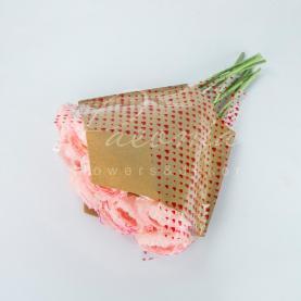 Пакет Флористичний для букета 38см*35см*13см крафт з п/э з червоними серцями