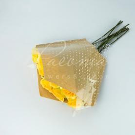 Пакет Флористичний для букета 38см*35см*13см Кусама крафт з прозорою плівкою в білу точку