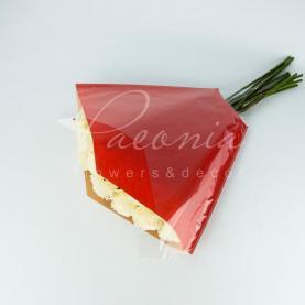 Пакет Флористичний для букета 51см*51*12см крафт червоний з прозорими косыми углами