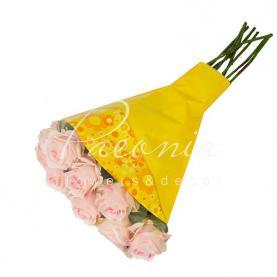 Пакет Флористичний для букета 52*35*10 з принтом квіти жовтий