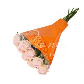 Пакет Флористичний для букета 52*35*10 з принтом квіти помаранчевый