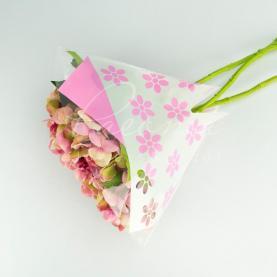 Пакет Флористичний для букета 52*35*10 з принтом квіти рожевий
