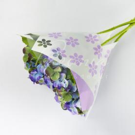 Пакет флористический для букета 52*35*10 с принтом цветы фиолетовый
