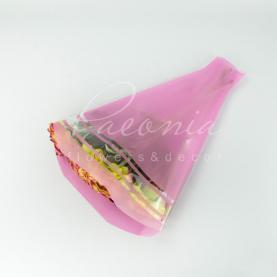 Пакет Флористичний для букета 52*35*10см смуги рожевий
