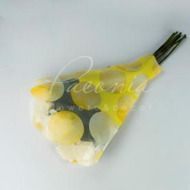 Пакет Флористичний для букета 52см*35см*10см горох жовтий