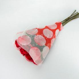 Пакет Флористичний для букета 52см*35см*10см горох червоний