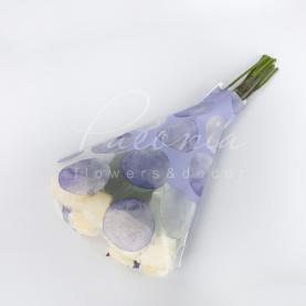 Пакет Флористичний для букета 52см*35см*10см горох лаванда