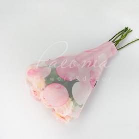 Пакет флористический для букета 52см*35см*10см горох розовый
