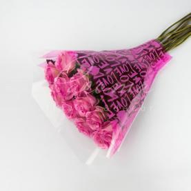 Пакет Флористичний для букета 52см*44см*12см з написом Love рожевий