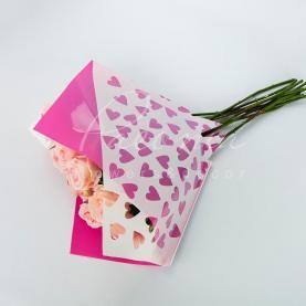 Пакет флористический для букета 80см*90см сердца розовый+белый
