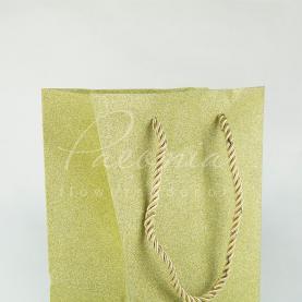 Пакет флористический из картона 20*16,5*11 см золотистый