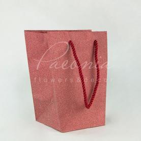 Пакет Флористичний з картону 20*16,5*11 см червоний