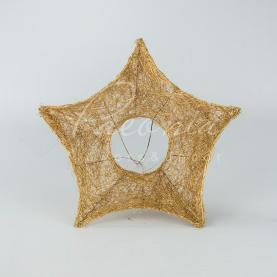 Підставка для букета з сизалю d25см зірка новорічна золотий