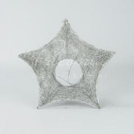 Підставка для букета з сизалю d25см зірка новорічна сріблястий