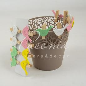 Прищіпка декоративна пташка з дерева 4 см мікс