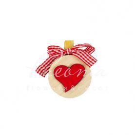 Прищіпка декоративна серце червоне зі стрічкою 5,5 см