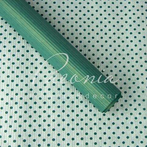 Папір гофрований з горохом бірюзовий 70 см*10 м