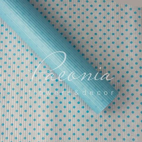 Папір гофрований з горохом блакитний 70 см*10 м