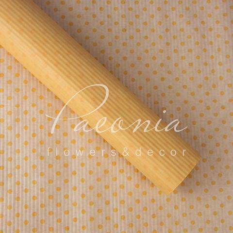 Папір гофрований з горохом персиковий 70 см*10 м