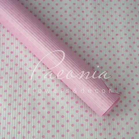 Папір гофрований з горохом рожевий 70 см*10 м