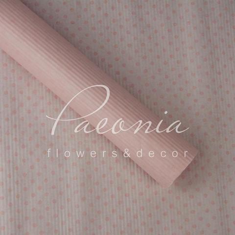 Папір гофрований з горохом світло-рожеий 70 см*10 м