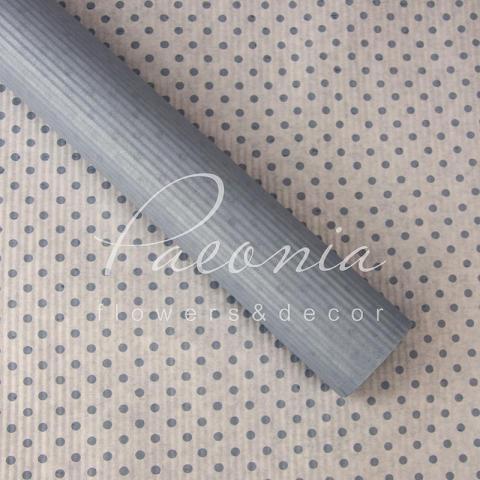 Папір гофрований з горохом світло-сірий 70 см*10 м