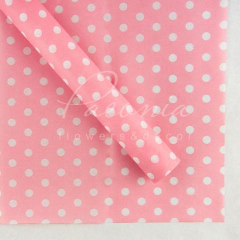 Папір Тішью в листах 55см*60см горох на рожевий 1 лист