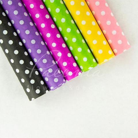 Бумага Тишью в листах 55см*60см горох на фиолетовый 1 лист