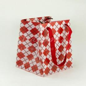 Сумочка Флористична з картону 12,5см*11,5см*14,5см Клітина червоний