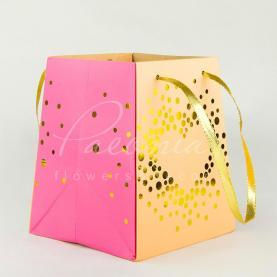 Сумочка Флористична з картону 12см*15см*18см Конфетти рожева