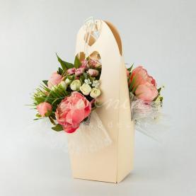 Сумочка Флористична з картону 13*13*45см персиковий