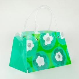Сумочка Флористична із пластику 22*11*13см зелений/блакитний