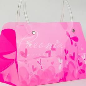 Сумочка флористическая из пластика 22*11*13см розовый