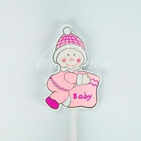 Топпер для букета з дерева Малюки рожевий/блакитний H20см