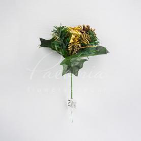Топпер Флористичний H10см d12см гілочка новорічна подарунок-шишка золотий