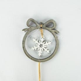 Топпер Флористичний з дерева H50см d8,5см Сніжинка