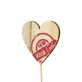 Топпер Флористичний серце з дерева натуральне з написом 7*7см h12см
