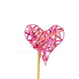 Топпер Флористичний серце з ротанга рожеве 7,5*7,5см h12 см
