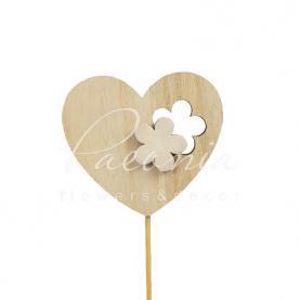 Топпер Флористичний серце з білою квіточкою 6*7см h12см