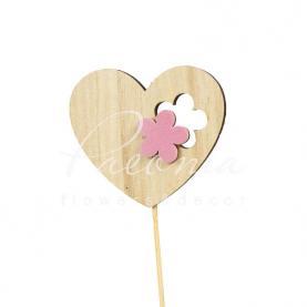 Топпер Флористичний серце з рожевою квіточкою 6*7см h12см