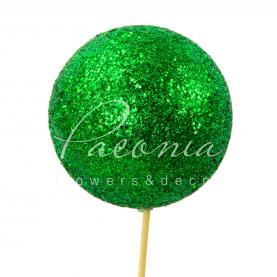 Топпер флористичний кулька з блиском зелений Ø7,5см H50см