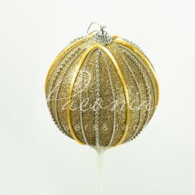 Топпер флористический шарик новогодний золотой Ø10см H50см