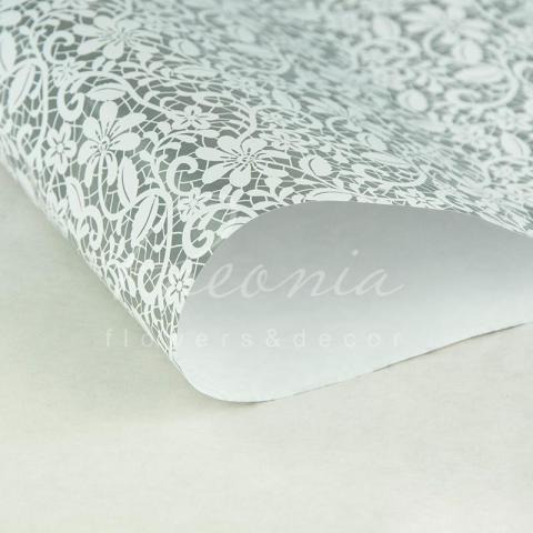 Папір пакувальний листовий 70см*100см біле кружево