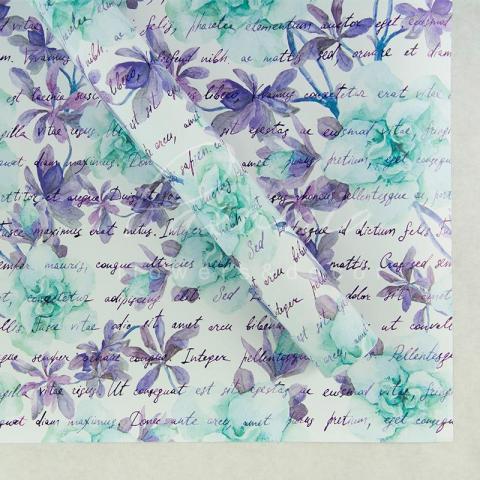 Папір пакувальний листовий 70см*100см блакитне лист з квітами