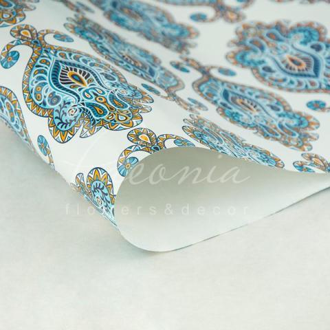 Папір пакувальний листовий 70см*100см блакитний ситец