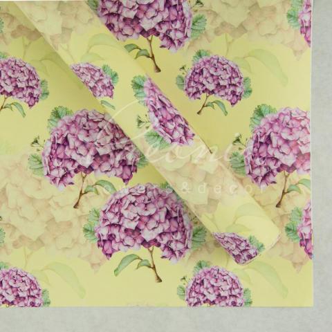 Папір пакувальний листовий 70см*100см Гортензія бузкова на жевтом