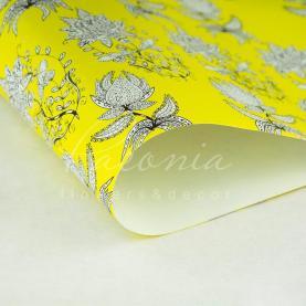 Папір пакувальний листовий 70см*100см Горчичная з візерунком