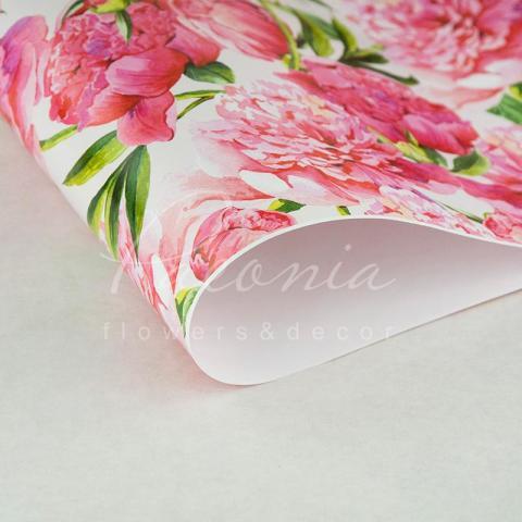 Папір пакувальний листовий 70см*100см Півонія рожеві