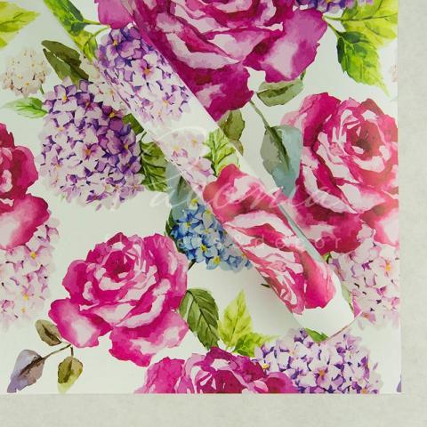 Папір пакувальний листовий 70см*100см троянді з гортензией